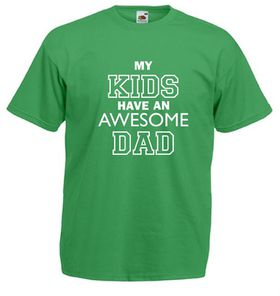 Qtees Africa My Kids Have An Awesome Dad Green Mens T-Shirt