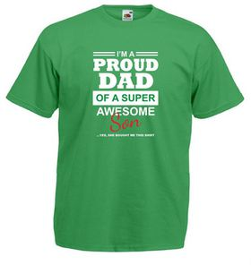 Qtees Africa Proud Dad Of A Super Awesome Son Green Mens T-Shirt