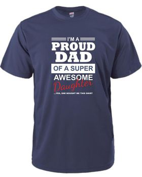 Qtees Africa Proud Dad Of A Super Awesome Daughter Navy Mens T-Shirt