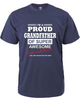 Qtees Africa Proud Grandfather Of A Super Awesome Grandchildren Navy Mens T-Shirt