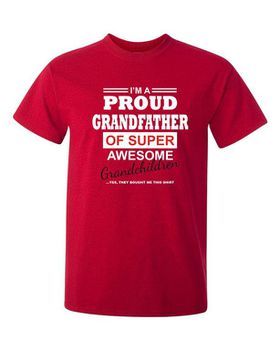 Qtees Africa Proud Grandfather Of A Super Awesome Grandchildren Red Mens T-Shirt
