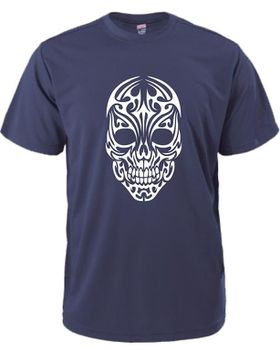 Qtees Africa Skull Shirt Navy Mens T-Shirt
