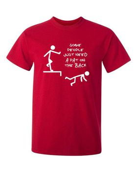 Qtees Africa Some People Just Need A Pat On The Back Red Mens T-Shirt