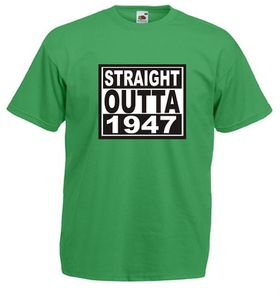 Qtees Africa Straight Outta 1947 Green Mens T-Shirt