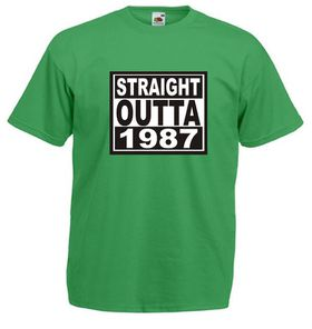 Qtees Africa Straight Outta 1987 Green Mens T-Shirt
