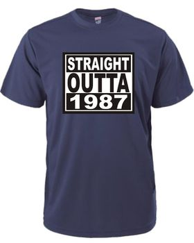 Qtees Africa Straight Outta 1987 Navy Mens T-Shirt