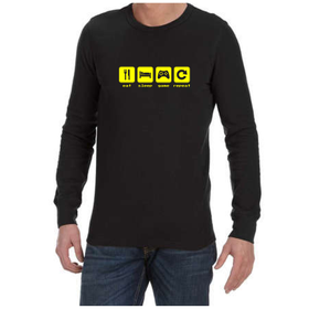 Juicebubble Eat Sleep Game Repeat Long Sleeve Shirt - Black