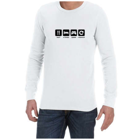 Juicebubble Eat Sleep Game Repeat Long Sleeve Shirt - White