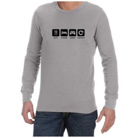 Juicebubble Eat Sleep Game Repeat Long Sleeve Shirt - Grey