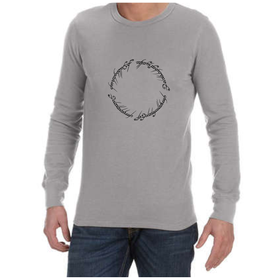Juicebubble Lord of The Rings Script Long Sleeve Shirt - Grey