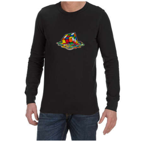 Juicebubble Melting Rubik's Cube Long Sleeve Shirt - Black