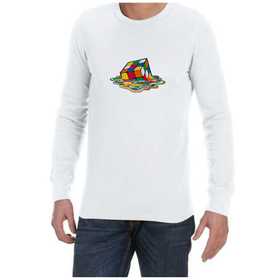 Juicebubble Melting Rubik's Cube Long Sleeve Shirt - White