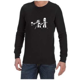 Juicebubble Pulp Fiction Simpsons Long Sleeve Shirt - Black