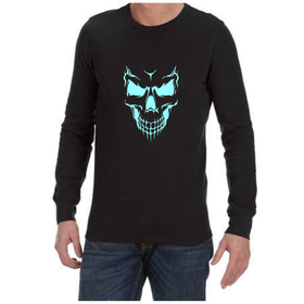 Juicebubble Scary Skull Face Long Sleeve Shirt - Black
