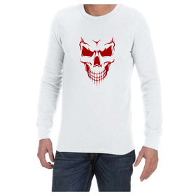Juicebubble Scary Skull Face Long Sleeve Shirt - White