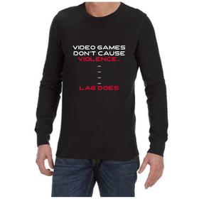 Juicebubble Video Game Violence Long Sleeve Shirt - Black