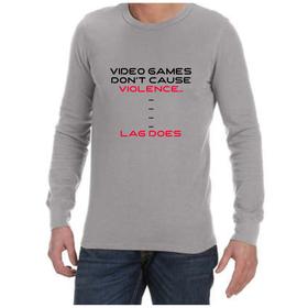Juicebubble Video Game Violence Long Sleeve Shirt - Grey