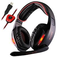 Sades SA-902 7.1 USB Surround Gaming Headset with Mic LED Light - Black & Red