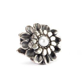 Trollbeads Chrysanthemum of November Sterling Silver & Pearl