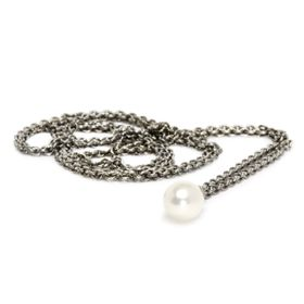 Trollbeads Fanatasy Necklace with White Pearl 60cm - Silver & Pearl