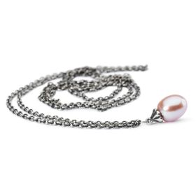 Trollbeads Fantasy Necklace with Rosa Pearl 90cm - Silver & Pearl