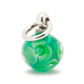 Trollbeads Green Flower Tassel Sterling Silver & Glass