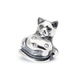 Trollbeads Moonlight Cat Sterling Silver & Diamonds