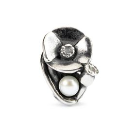 Trollbeads Poppies of August Sterling Sliver & Pearl