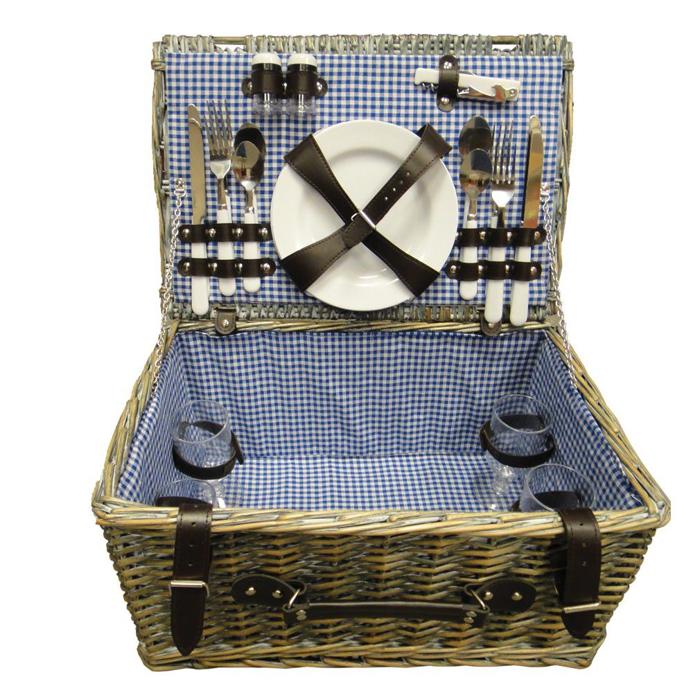 South African Baskets: Eco - Wicker Picnic Basket - 4 Person