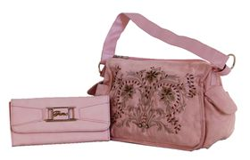 Fino Suede Embrioded Bag with Purse - Pink