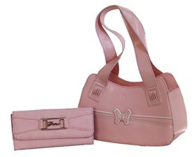 Fino PU Structure Fashion Bag with Purse - Pink