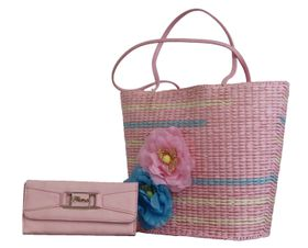 Fino Tote Straw Basket with Purse - Pink