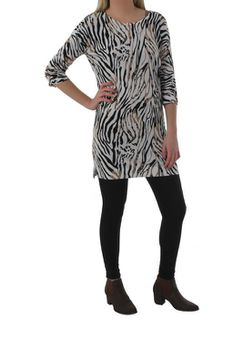 The Earth Collection Ladies 3/4 Sleeve Knit Dress - Animal Print