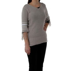 The Earth Collection Ladies Knit Sweater with Tassels - Pearl