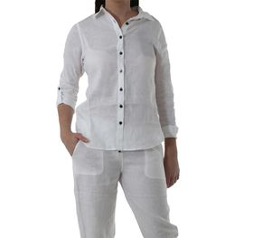 The Earth Collection Ladies Classic Linen Shirt - White