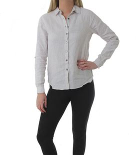 The Earth Collection Ladies Classic Linen Shirt - Pearl Stripe
