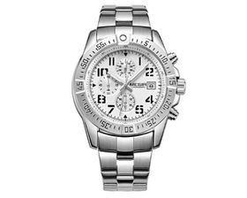 Skyla Jewels Megir 2030 Men's Full Chronograph Movement Watch - White Face