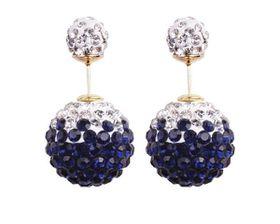 Skyla Jewels Two-Sided Rhinestone Earrings - Dark Blue & White