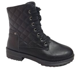 Ladies Quilted Mid Ankle Boots - Black