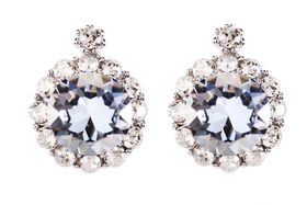 Civetta Spark Brilliance Earrings Swarovksi Crystal In Blue Shade