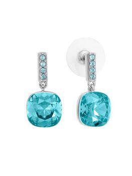 Civetta Spark Jia Jia Square Drop Earring with Aquamarine Swarovski Crystal