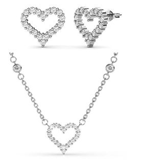 Destiny Angels Heart Necklace & Earring Set with Swarovski Crystals