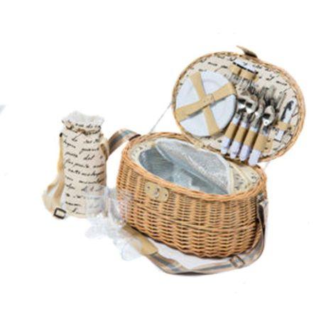 Yuppie Gift Baskets Fantasy Picnic Basket With Wine Bottle Holder
