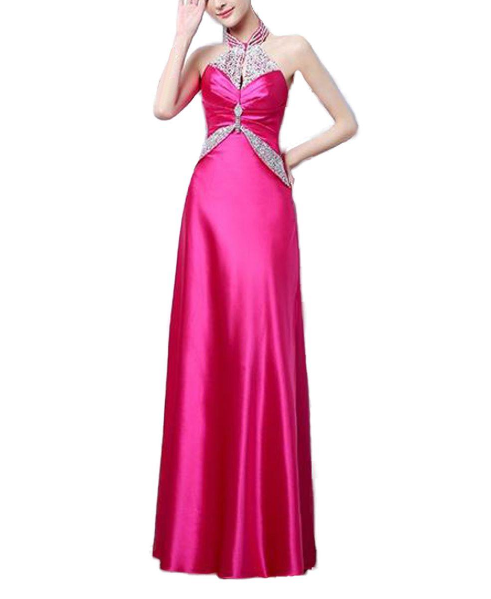 Sparkle Halter Elegant Satin Gown - Fuschia Pink | Buy Online in ...