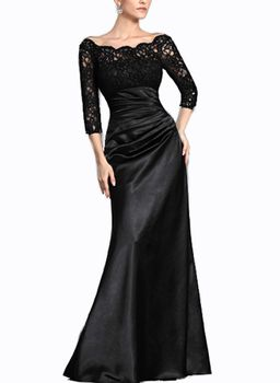 Lace Sleeved Contour Evening Gown - Black