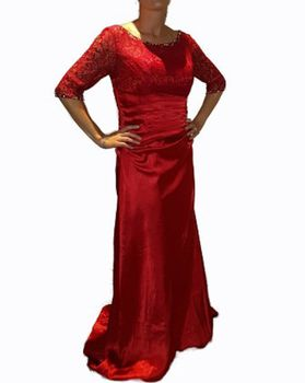 Lace Sleeved Contour Evening Gown - Scarlet Red