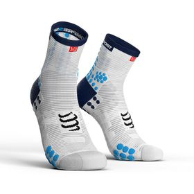 Compressport Pro Racing Socks, Run Hi V3.0 White/Blue - T4
