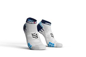 Compressport Pro Racing Socks, Run Lo V3.0 White/Blue - T2