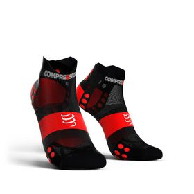 Compressport Ultralight Pro Racing Socks Run Lo V3.0 Black/Red - T3
