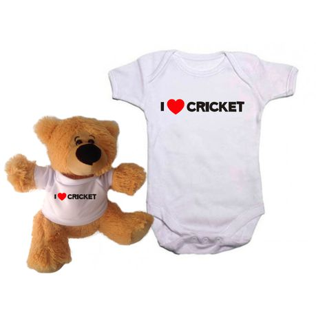 601e462bb Qtees Africa I Love Cricket Baby Grow & Teddy Bear Combo (Size: 0-3 Months)  | Buy Online in South Africa | takealot.com